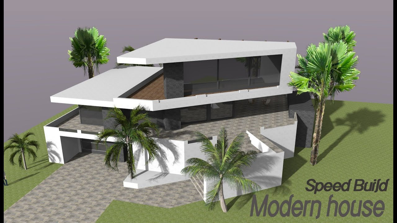 Google sketchup speed building modern house youtube for Google house plans
