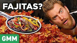 Fajitas? A PSL? Can Rhett & Link guess what else might be hiding in a big giant leaf pile? GMM #1198 Go play Pancake Pictionary with Jen & John on TIM: ...