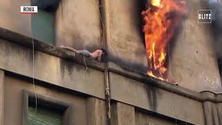 Roma, va a fuoco la casa: salvataggio da brividi