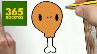 COMO DIBUJAR MUSLO DE POLLO KAWAII PASO A PASO - Dibujos kawaii faciles - draw a chicken thigh