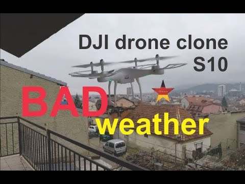 DJI drone clone on a windy and cloudy weather   SMRC s10