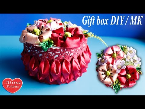 Цветочная Шкатулка Канзаши на Подарок / Gift box. DIY