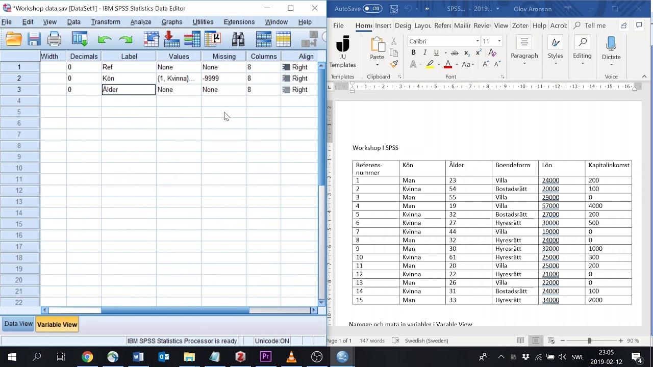 Tutorial 2 SPSS: Lägga in variabler och data 2