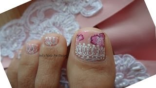 Another type of French Pedicure Lace Trim Toes Art Design Tutorial Hair Accessory Inspired