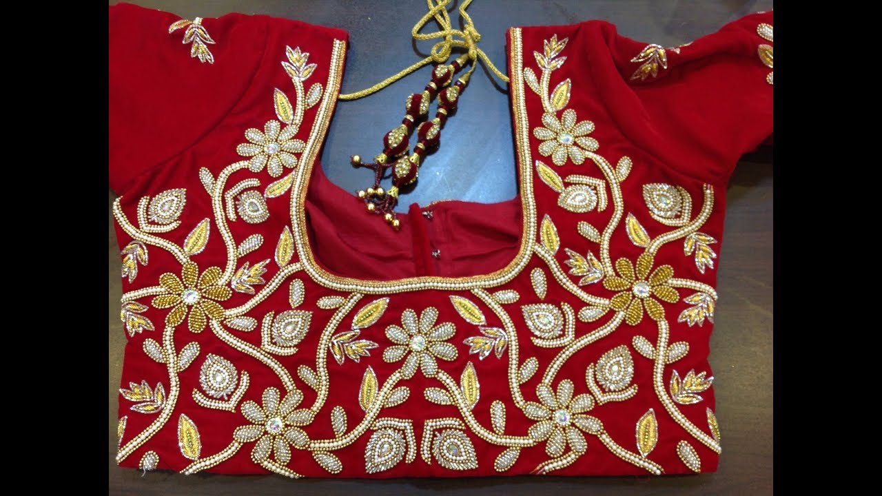 Bridal maggam work blouses with low cost aari work for Sedie design low cost