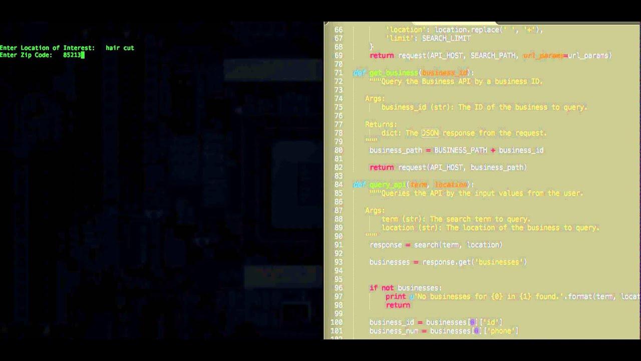 Yelp API Request v2 0 in Python