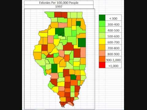 Map: Illinois Felonies By County