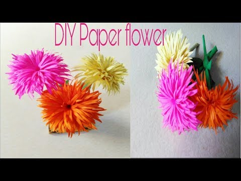 DIY paper flower, how to make beautiful flower, paper stick flower, paper craft,
