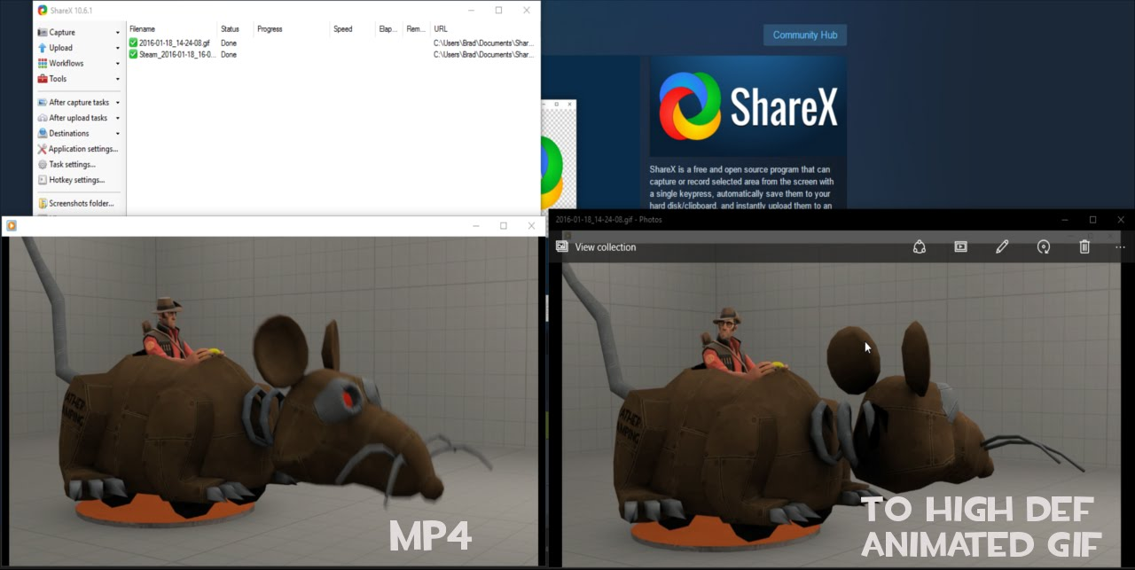 sharex how to make a gif