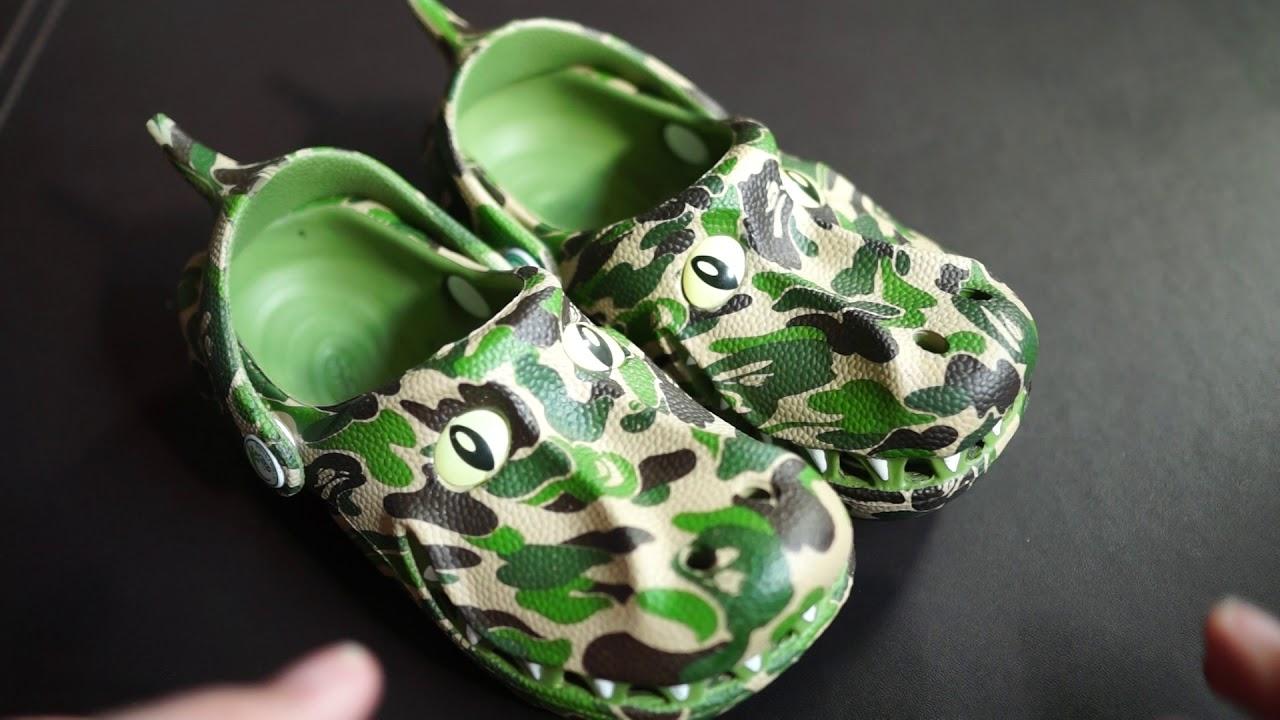 6c80f1e0dd46 Bathing Ape (BAPE) x Polliwalks T-Rex ABC Camo Kid Shoes Retro Unboxing    Review! BAPE Crocs
