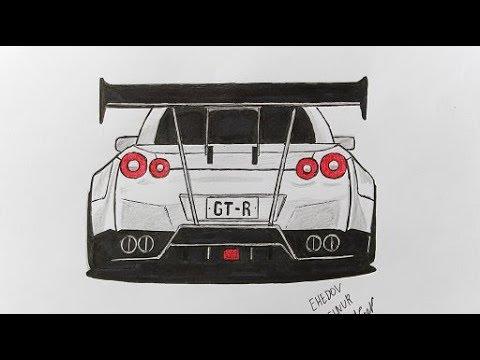 Как нарисовать машину Ниссан ГТ-Р (Ахадов Эльнур)