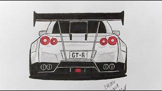Как нарисовать машину Nissan GT-R (Ehedov Elnur) How to Draw a Nissan GT-R