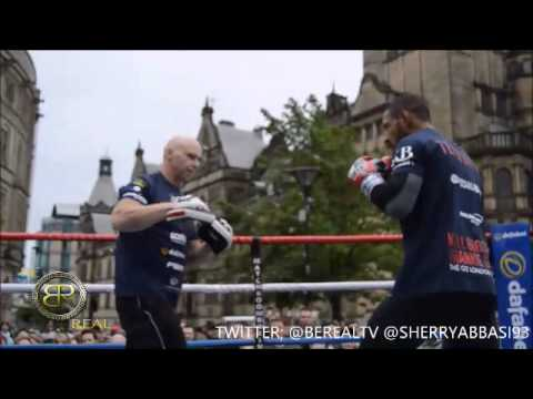 KELL BROOK OPEN WORKOUT; SPARS WITH FANS, SHADOW BOXING, PAD WORKf