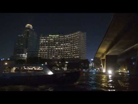 Chao Phraya River at night/Shangri La Hotel Boat, Bangkok