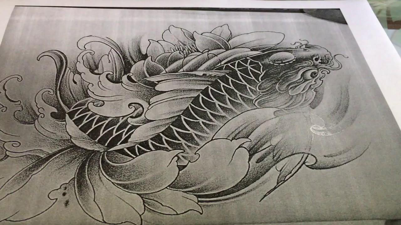P.2 Cách vẽ cá chép trong Tattoo bằng bút chì  How to Draw Fish in Tattoo With pencil