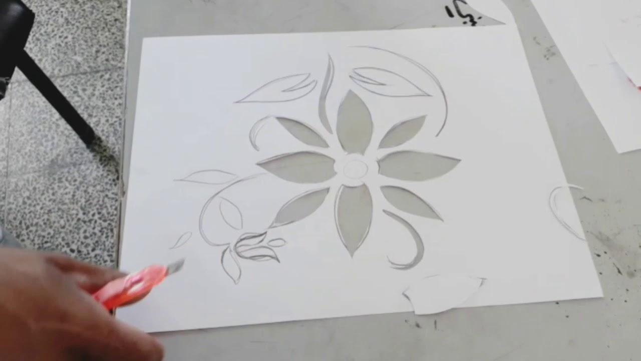 درس تعليمي في فن الطباعة علي القماش بالاستنسل الطباعة بالتفريغ Youtube