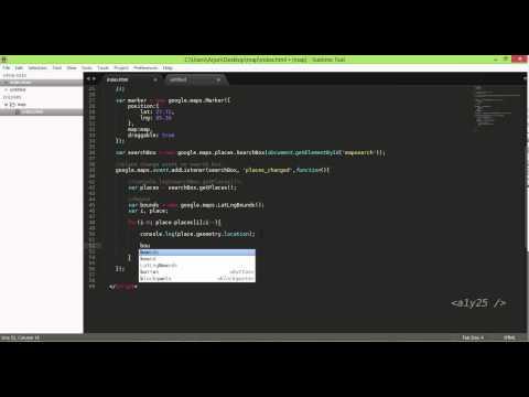 Javascript Google Maps Api - Dynamic Search Place Input Box, Draggable Marker, Bounds