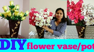 DIY flower vase, pot,clay art,do it yourself,anvesha,s creativity