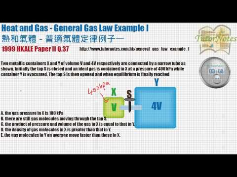 HKDSE Physics General Gas Law Example I -- 普適氣體定律例子一