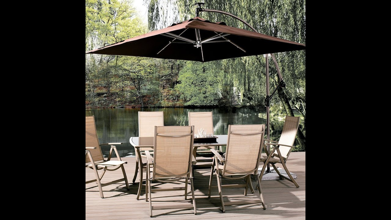 Abba Patio 8 Ft Square Outdoor Solar Powered 32 LED Cantilever Crank Lift Patio  Umbrella With Base   YouTube