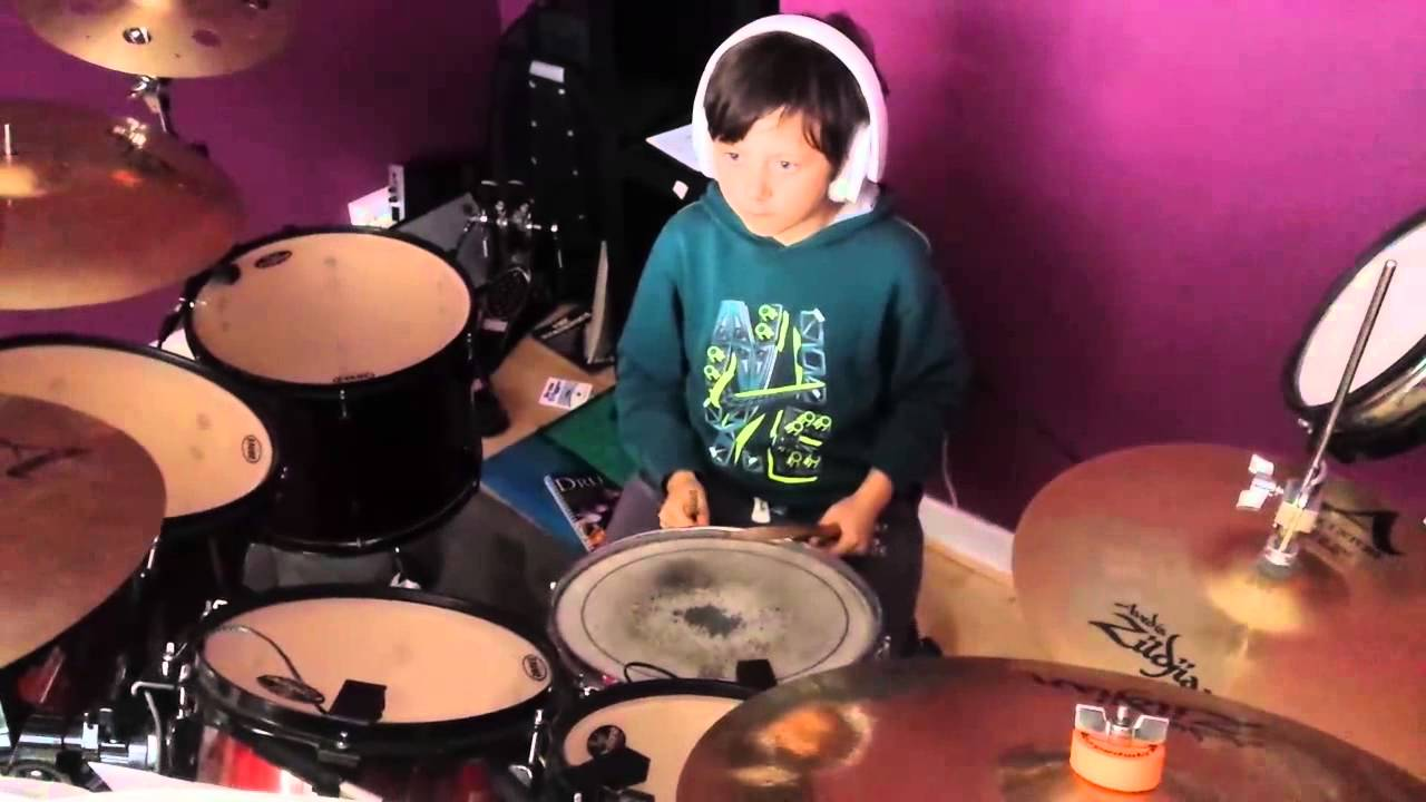 9 year old girl drummer plays How you Remind me by Nickleback