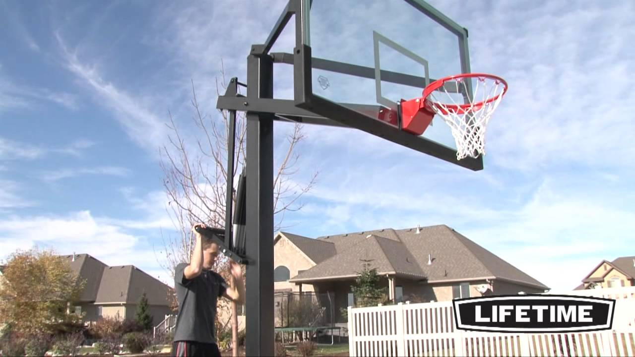 Lifetime 72 39 39 mammoth basketball goal youtube for Homemade basketball court