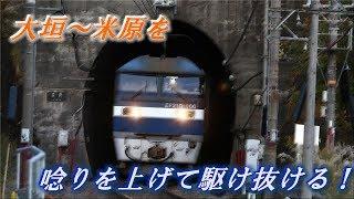 関ヶ原の山を越える貨物列車