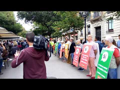 """Voluntaris de l'ANC canten el """"Passi-ho bé"""" a la Rambla de Catalunya"""