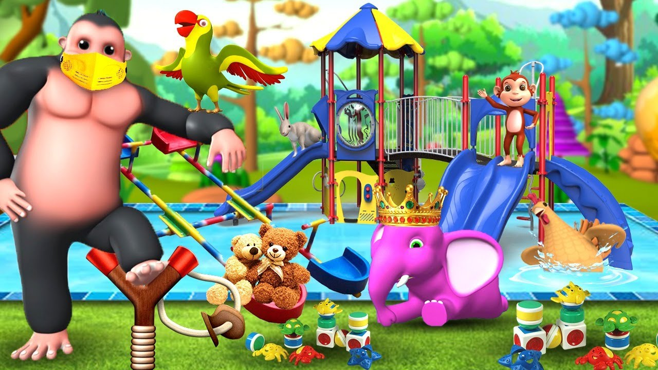 Funny Animals River Crossing with Pool Slider and Sling Shot Game with Help of Gorilla | Cartoons