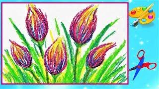 Как просто нарисовать цветы восковыми мелками
