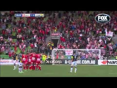 Orlando Engelaar Melbourne Heart vs Central Coast amazing goal from half way 23/03/2014 [HD]