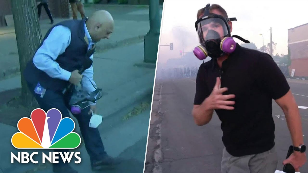 Watch: NBC News Reporters Get Caught In Minneapolis Crowd-Control Effort | NBC News thumbnail
