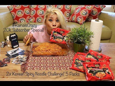 2x Spicy Korean Noodle Challenge - 5 Packs   20,000 Subscriber Special   RainaisCrazy