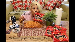 2x Spicy Korean Noodle Challenge - 5 Packs | 20,000 Subscriber Special | RainaisCrazy