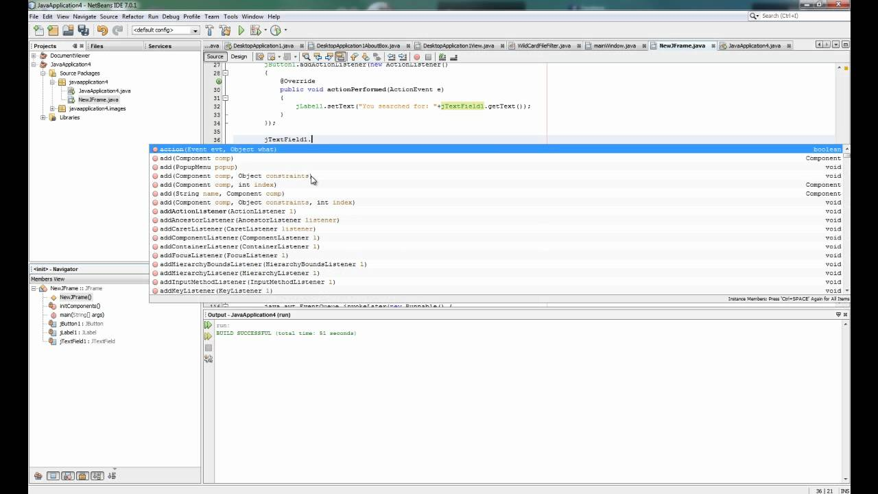 Java search bar - Click event and Enter key event (Netbeans)