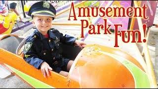 Little Police Officer Goes to the Amusement Park! | Crazy8Family