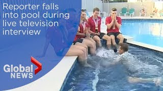 News blooper: Reporter falls into pool during live TV interview