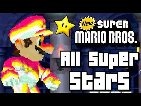 New Super Mario Bros ALL SUPER STARS & Locations (DS)