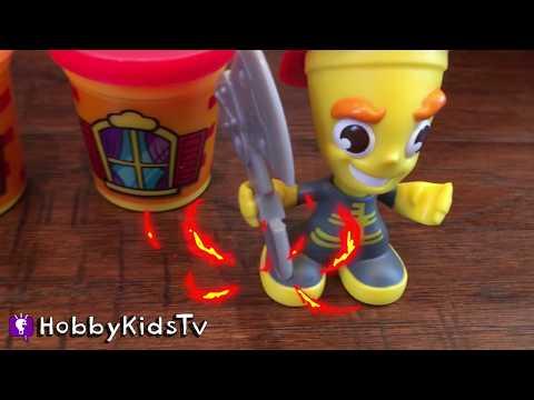On Fire! Playtime FIRETRUCK + IRONMAN Play-Doh Fireman Toy Review w.Spongebob Hero Fun HobbyKidsTV