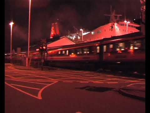 Night boat-train departing Fishguard Harbour