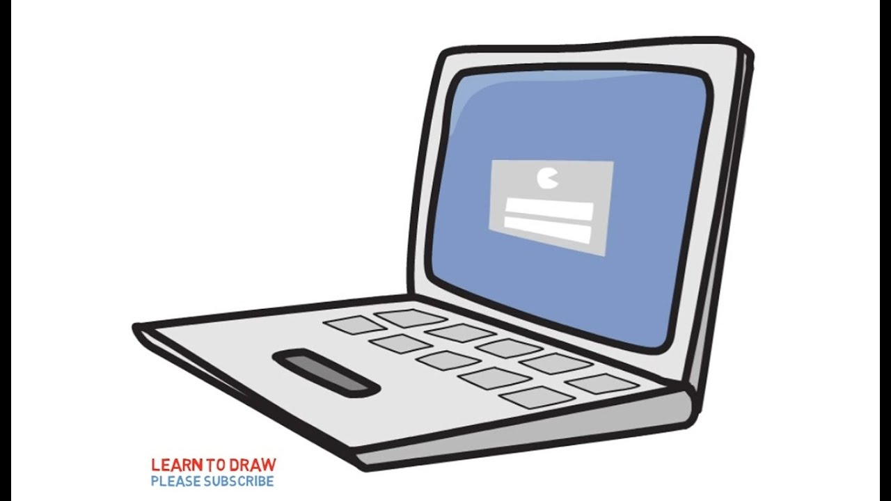 How to draw a laptop computers for kids step by step