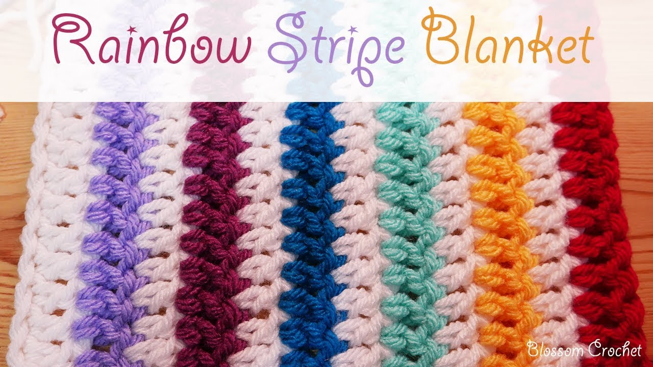 Easiest Crochet Blanket Scarf Ever Rainbow Stripes Youtube