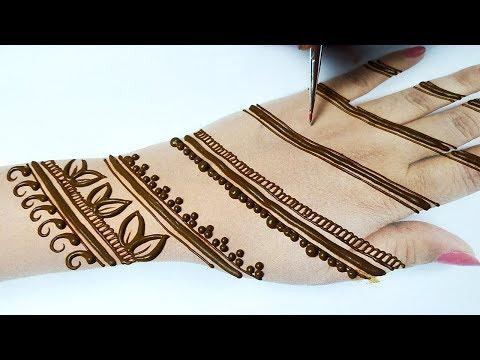 आसान गोल टिक्की मेहँदी डिज़ाइन लगाना सीखे- Full Hand Mehndi Design step by step-Simple Mehndi Design