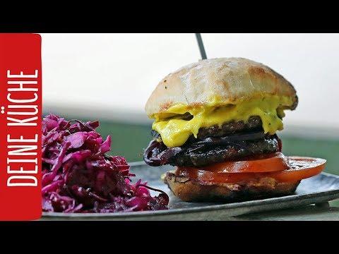 Burger mit Zwiebelmarmelade & Wasabi-Mayonnaise - dazu Rotkohlsalat   Grillen 2017