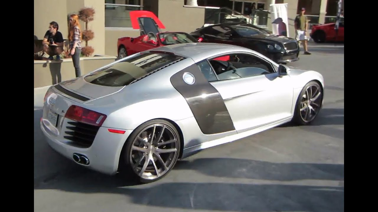 Audi r8 with custom wheels youtube publicscrutiny Choice Image