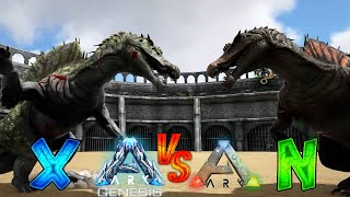 Ark Genesis X-Dinos vs Ark Normal Dinos || Ark Battle