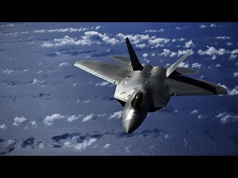 U.S.  F-22 Raptor . take-off ,vertical climb, inverted stall, controlled hover