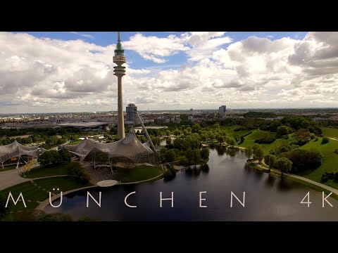 MÜNCHEN MUNICH from above in 4K - Aerial View Drohne Marienplatz Allianz-Arena Olympiapark BMW