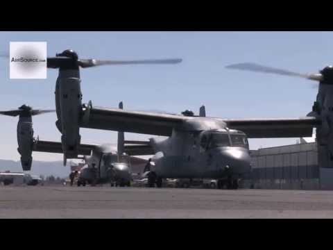 Four U.S. Marine MV-22 Osprey Aircraft Depart From MCAS Miramar, San Diego, California