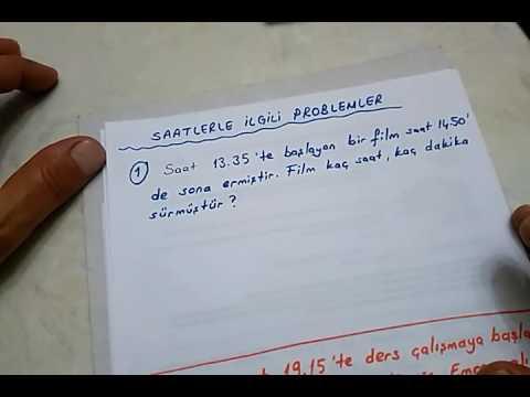 3.sınıf Matematik Saatlerle Ilgili Problemler -1-